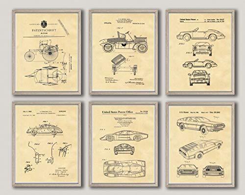 Póster de coche para pared de coche, impresión de coche, diseño vintage para coche, garaje, decoración mecánica, regalo para mecánico, Grand Prix Art WB331-WB336 (18 x 24, pergamino)