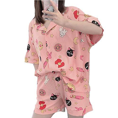 Conjunto de Pijamas de algodón a Rayas para Mujer 2 Piezas Traje de Pijama con Estampado de Dibujos Animados Sailor Moon Traje de Dormir Lindo Mangas Cortas