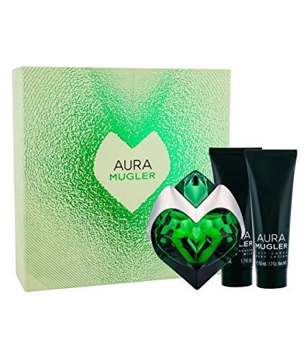 Giosal - Estuche para mujer Thierry Mugler Aura Perfume Eau de Parfum 30 ml + Body Lotion 50 ml + Gel Shower 50 ml