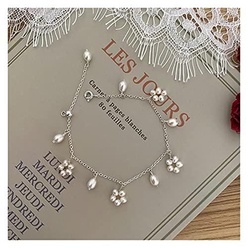 LYNLYN Pulseras Pulsera de Perlas de Agua Dulce Natural para Mujeres 925 joyería de Plata esterlina Boda 18 cm (Color : White)