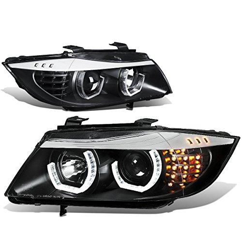 DNA Motoring HL-3D-E9005-BK Black Housing Crystal U-Halo Projector Headlights+LED Turn signal Lights For 06-08 3-Series