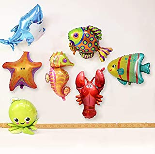 7PCS Cute Different Large sea Cartoon Balloons for Marine Theme Party Kids Gifts Birthday Party Decor with Octopus Shark Lobster Hippocampus Starfish Fish Balloons (Colorful)