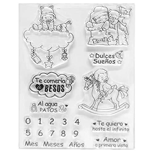 Wuweiwei12 1 unidad de sellos transparentes con diseño de dibujos animados de la buena noche del bebé – DIY Scrapbooking, planificador, creación de tarjetas, diario