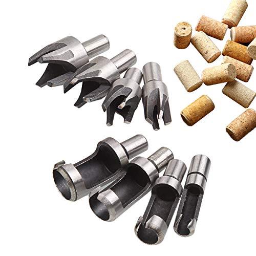 CUKCIC Träplugg skärare Tenon träplugg tillverkare kolstål kork borrar set 8 st