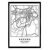 Nacnic Blade Ankara Stadtkarte nordischen Stil schwarz und