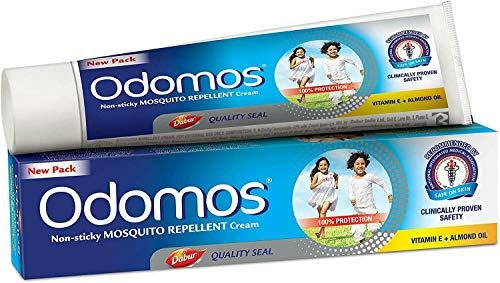 Odomos Non-Sticky Mosquito Repellent Cream (With Vitamin E & Almond) - 100g | Odomos Naturals Antihaft-Mückenschutzcreme - Vitamin E+ Mandelöl- 100g