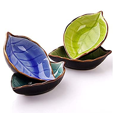 Leaves Shaped Ceramic Sauce Dish Dinnerware Set Tea Bag Holders Ketchup Saucer Appetizer Plates Vinegar Spice Salad Soy Sushi Wasabi Seasoning Dipping Bowls(Set of 4, Multicolor)