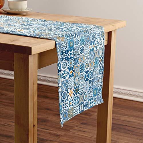 CICIDI Camino de mesa corto de azulejo marroquí, azul y naranja, mantel de mesa, para fiestas, cenas, vacaciones, cocina, 13 x 70 pulgadas