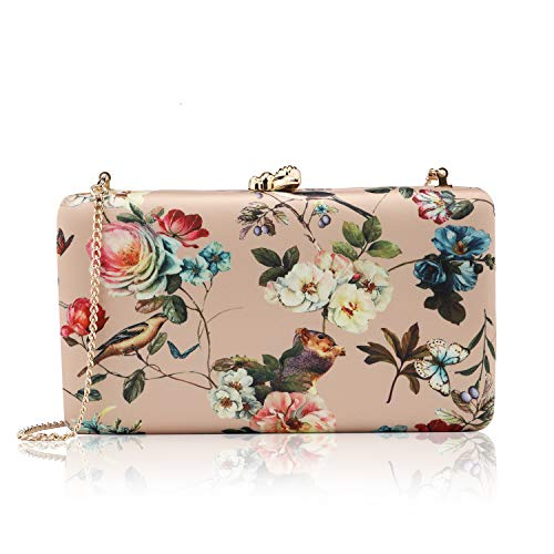 two the nines Flower Clutch for Women, Evening Bag Floral Print Clutch Bag Wedding Bride Clutch Purse Handbags, Gold