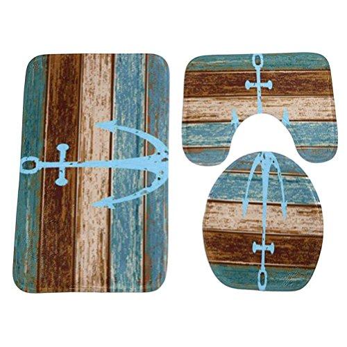 bestomz 3-teiliges Badematten-Set Anker Muster Rutschfest Bad Teppich WC-Deckelbezug Soft Vorleger Teppich