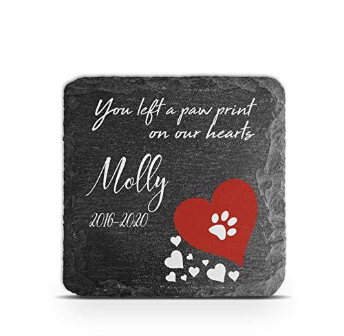 TULLUN Placa conmemorativa personalizada para mascotas, gato, perro, marco de piedra de pizarra, marcador de tumba, tamaño 100 x 100 mm, impresión de huellas en el corazón