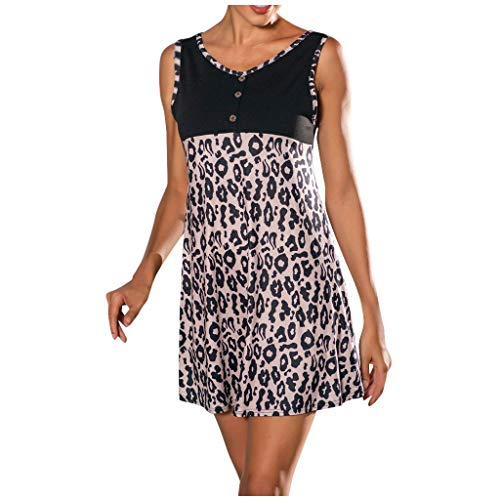 "Shenye Damen Westenkleid, Mode Casual Leopard Printed Pacthwork Colorblock Button O-Ausschnitt Ã""rmellose Summer Beach Minikleider, Retro Rockabilly Kleid Cocktailkleider Knielang"