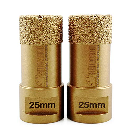 SHDIATOOL Dry Diamond Drill Core Bit 2PK 25mm Hole Saw with M14 Thread for Porcelain Tile Granite Marble