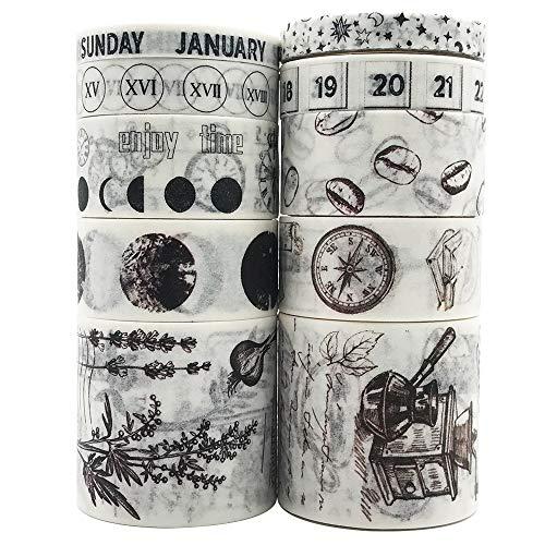 Vintage Washi Tapes Set, EnYan 10 Rolls Japanese Masking Decorative Tapes for DIY Crafts and Arts Bullet Journal Planners Scrapbooking Adhesive