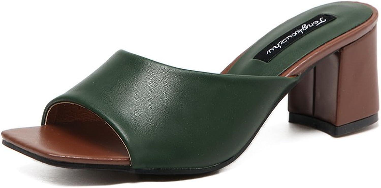 Ladola Womens Chunky Heels Solid Peep-Toe Urethane Slides Sandals