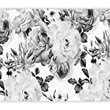 artgeist Wall Mural Flowers 116'x83' XXL Peel and Stick Self-Adhesive Wallpaper Removable Large Sticker Foil Wall Decor Print Picture Image Design - Roses Black White B&W b-B-0379-a-b