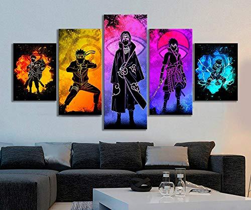N / A 5pcs Soul of Naruto Charaktere Bild Abstrakte Wandkunst Leinwandbilder HD Wandbild für Wohnzimmer Dekor-40x60 40x80 40x100cm Kein Rahmen
