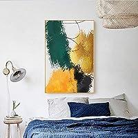 キャンバスペインティング 北欧の創造的な抽象絵画グリーンゴールドフォイルキャンバスポスターモダンウォールアートプリント壁の写真リビングルームの装飾 50x75cm