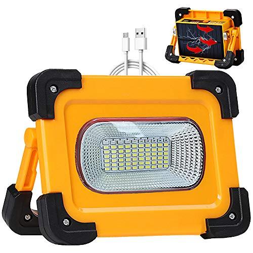 Faro Luce LED Solare Portatile 80W con Pannello Solare, 4 Modalità Lampada da Lavoro USB Ricaricabile, 11000mAh Power Bank, Impermeabili Luce di Emergenza per Riparazioni Auto, Viaggio, Campeggio