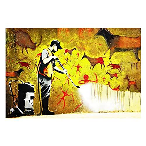 Arte De Lienzo 50x70cm Sin marco Banksy Graffiti Art Figura abstracta Póster Imagen para la decoración del hogar de la sala de estar