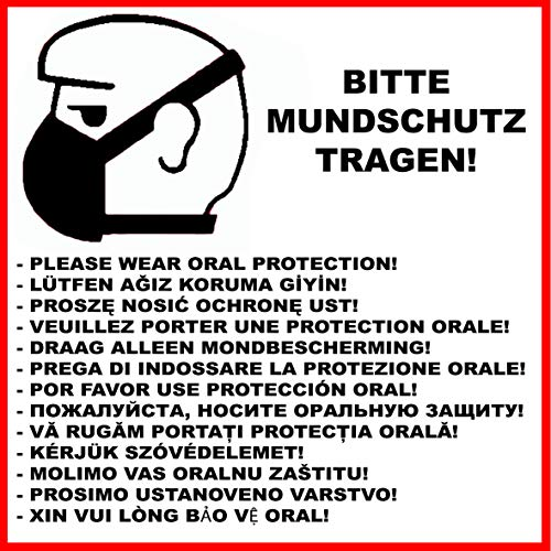 MS Car Sticker Bitte MUNDSCHUTZ TRAGEN! Warn & Hinweisaufkleber in versch. Sprachen (20x20cm)