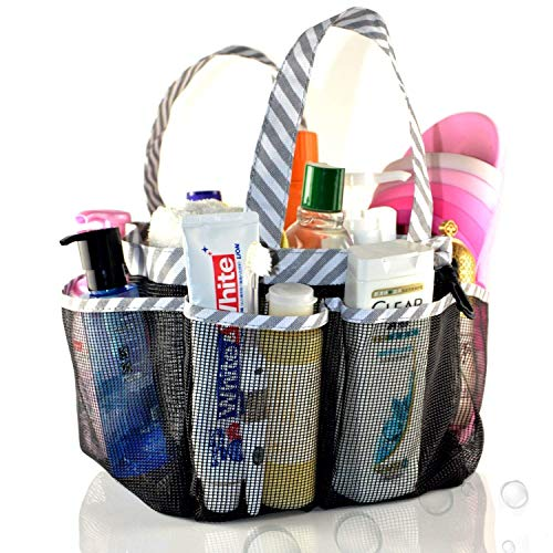 ACEEN Mesh Shower Caddy Tote, Portable College Dorm Bathroom Tote Organizer, Quick Dry Toiletries Bag with 2 Handles for Camp Gym, 8 Storage Pockets Basket with Key Hook