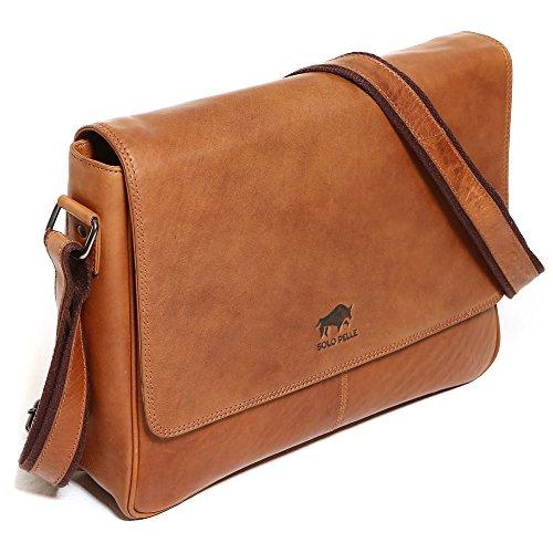 Solo Pelle Leder Messenger Tasche/Umhängetasche aus echtem Leder Modell: 4012 (Vintage-Braun) (geeignet für 15,6 Zoll und 17 Zoll)