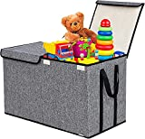 Large Kids Toy Box Chest Storage Organizer with Double Flip-Top Lid - Collapsible Sturdy Toy Organizers and Storage Bins with Big Handles for Nursery, Playroom, 26.8
