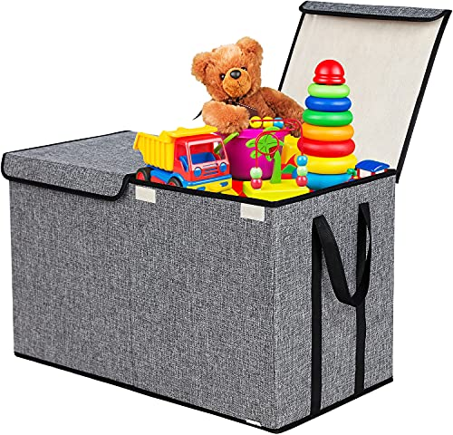 Large Kids Toy Box Chest Storage Organizer with Double Flip-Top Lid -...