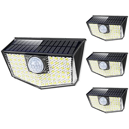 OUSFOT Luce Solare Led Esterno [4 Pezzi] IP67 Impermeabile 3 Modalità con Sensore di Movimento Faro Led Esterno con Pannello Solare Ultra Luminosa 60LED 1200mAh per Giardino Parete