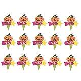 Yardwe - Juego de 50 adornos para tartas de Halloween, diseño de cabeza de calabaza con sombrero de bruja para magdalenas