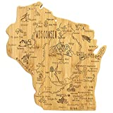 Totally Bamboo Destination Wisconsin State Shaped Serving and Cutting...