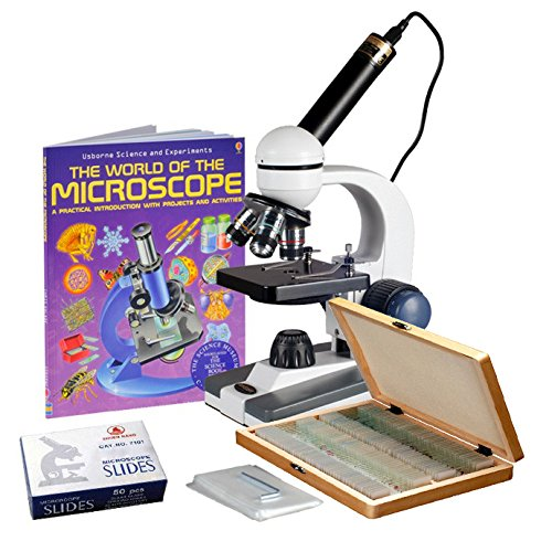40X-1000X Cordless Student Biological Microscope+Prepared & Blank Slides, Book+Camera