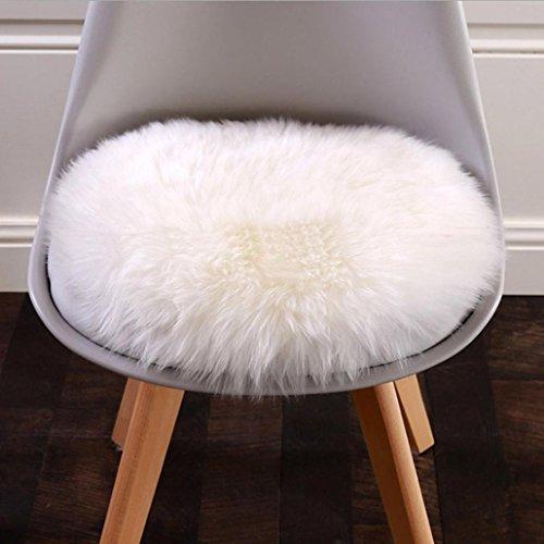 Janly - Cubierta suave, lavable para silla en pelo sintético de oveja , Blanco, 45 *45 CM