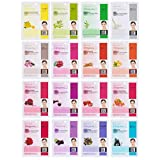 Dermal Korea Collagen Essence Full Face Facial Mask Sheets (16 Count (Pack of 1), SET B 16 Colors)