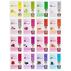 Dermal Korea Collagen Essence Full Face Facial Mask Sheets (16 Count (Pack of 1), SET B 16 Colors) 5 <p>Dermal Korea collagen essence full face 32 facial mask sheets pack (1 Set of A+B) 32 different types of facial mask (A+B) will help your skin more healthy, clear and elastic (as pictured) Contains vitamin E and collagen which keeps your tired skin lively and healthy Good quality felt soaked with various minerals and ingredients is used for effective absorption Eye area is not completely cut out - you can put it back to cover your eye lid</p>