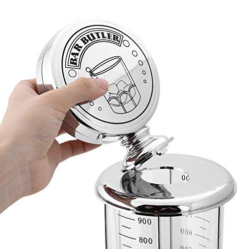 Fdit Distributore per Bibite, Distributore/Dispenser per Bevande Cromato, Placcatura in ABS, Argento,16 x 16 x 43 cm