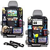 """Car Seat Organizer Back Seat with 10"""" Tablet Holder Adjustable Straps 9 Storage Pockets Kick Mats Car Seat Back Protectors Great Travel Accessories for Kids and Toddlers 2 Pack + 2 Car Headrest Hook"""