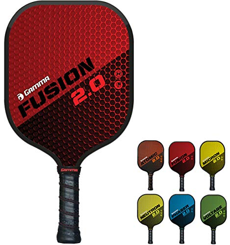 GAMMA Sports 2.0 Fusion Pickleball Paddles: Mens and Womens Textured Fiberglass Face Pickle-Ball Racquet - Indoor and Outdoor Racket: Red, ~8 oz
