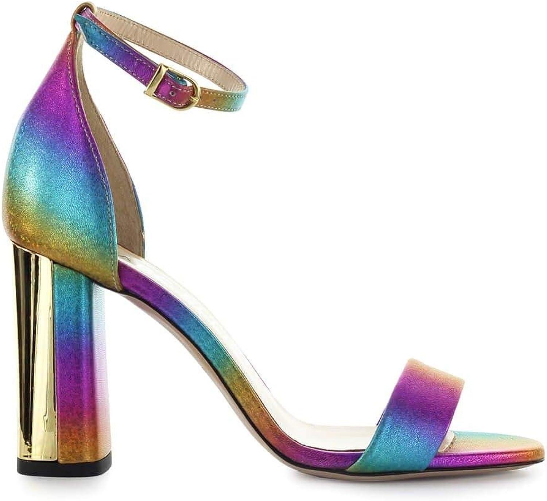 MARC ELLIS Women's MA5022 Multicolor Leather Sandals
