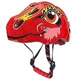HKD Casco de Bici con luz LED para niños 3D Dinosaurios Casco de Ciclismo Ajustable Dibujos Animados Safety Casco de Bici (Color : Red, Size : S)
