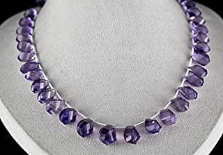 AMETHYST BRIOLETTE DROPS Necklace 21 INCHES 19 MM TO 13 MM