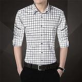 HDDFG Camisa para hombre de talla grande 5XL Camisa informal para hombre Camisa a cuadros de manga larga Camisas para hombre Ropa masculina (Color : White, Size : L code)