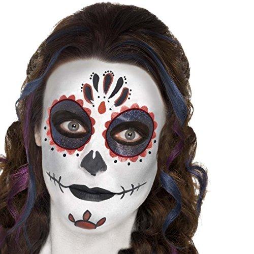 NET TOYS Schminke Mexikanische Totenmaske Sugar Skull Makeup-Set mehrteilig Tag der Toten Beauty Kit Dia de los Muertos Accessoires Todesmaske Schminkutensilien La Catrina Halloween Schminke