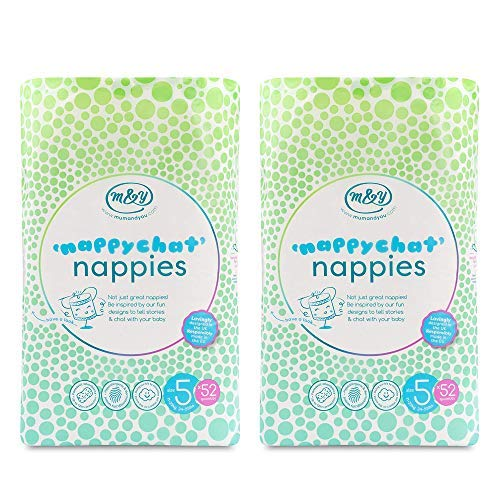 Mum & You Nappychat Eco-Friendly Diapers - Size 5, 104 Count (2 pk of 52 ct) for 24-55 lbs. Made Using Biodegradable Wood Pulp. Hypoallergenic, Dermatologically Tested and Free from Lotion and Perfume