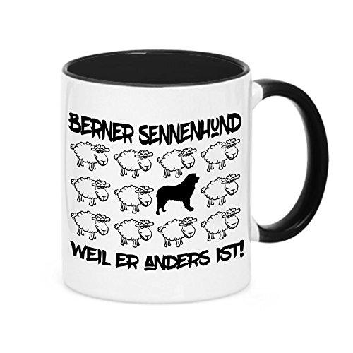 Siviwonder Tasse Black Sheep - Berner Sennenhund Sennen - Hunde Fun Schaf Kaffebecher
