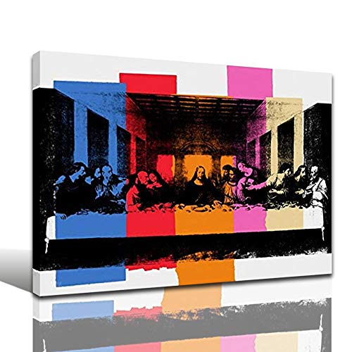 Faicai Art Jesus Christ The Last Supper Canvas Paintings Colorful Wall Art Prints With Blue Red Orange Pink Color Blocks Modern Wall Decor Pictures for Living Room Bedroom Office Wooden Framed 12'x16'