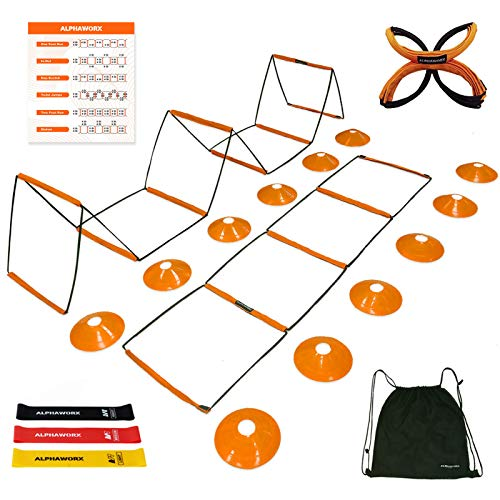 All-in-One Agility Ladder Speed Training Equipment, Soccer Agility Ladder Training & Hurdle & Wall,Foldable Instant Set-up &Tangle-Free Design,8+4 Rung with 12 Cones,3 Resistance Bands,1 Storage Bag