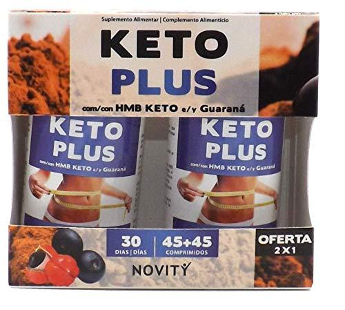 NOVITY Keto Plus 90 comprimidos(45+45),Con HMB KETO Y Guaraná, Quemagrasas potente para adelgazar y rapido, Detox, reforzado con Cáscara sagrada+Colina+Cromo, Dieta Incluida Pastillas Para Adelgazar