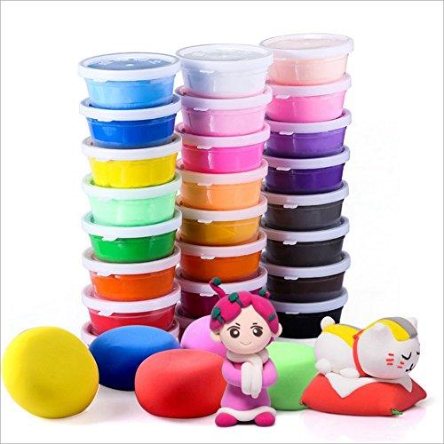 Arcilla Seca al Aire, 24 Colores Ultra Ligero No tóxico Arcilla de Modelado, Modelado / Juguete educativo Playset arcilla mágica con herramientas, El mejor regalo para Niños